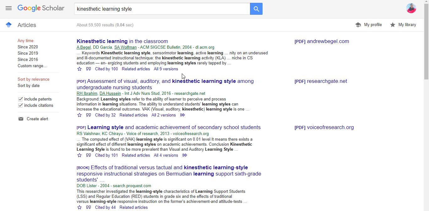Google-Scholar-Kinesthetic-Learning
