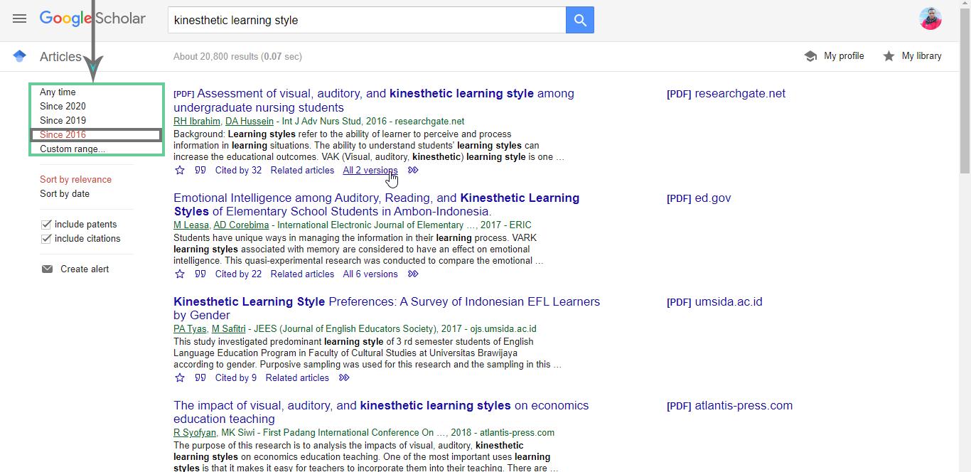 Google-Scholar-Year-Filter